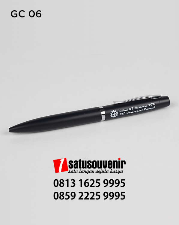 GC06 Corporate Gift souvenir promosi Pulpen Metal Warna Hitam